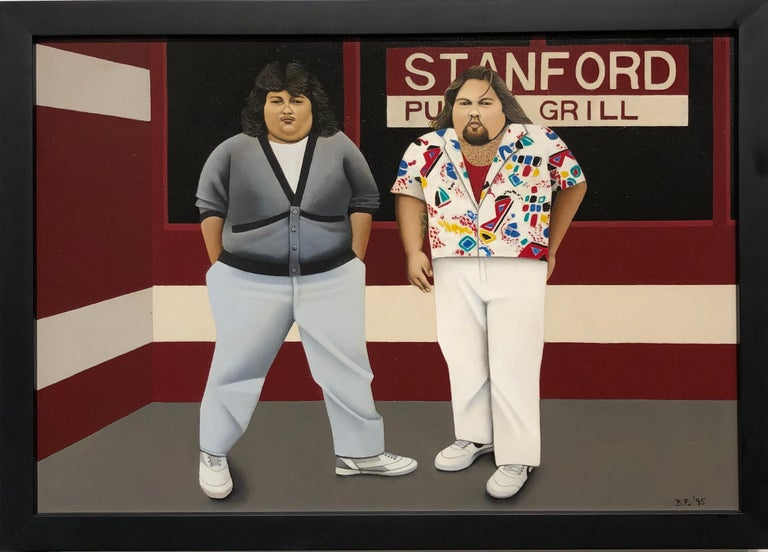 Waiting for Botero, Two Portly Male Figures at a Restaurant, Oil on Panel - Painting by Beth Foley