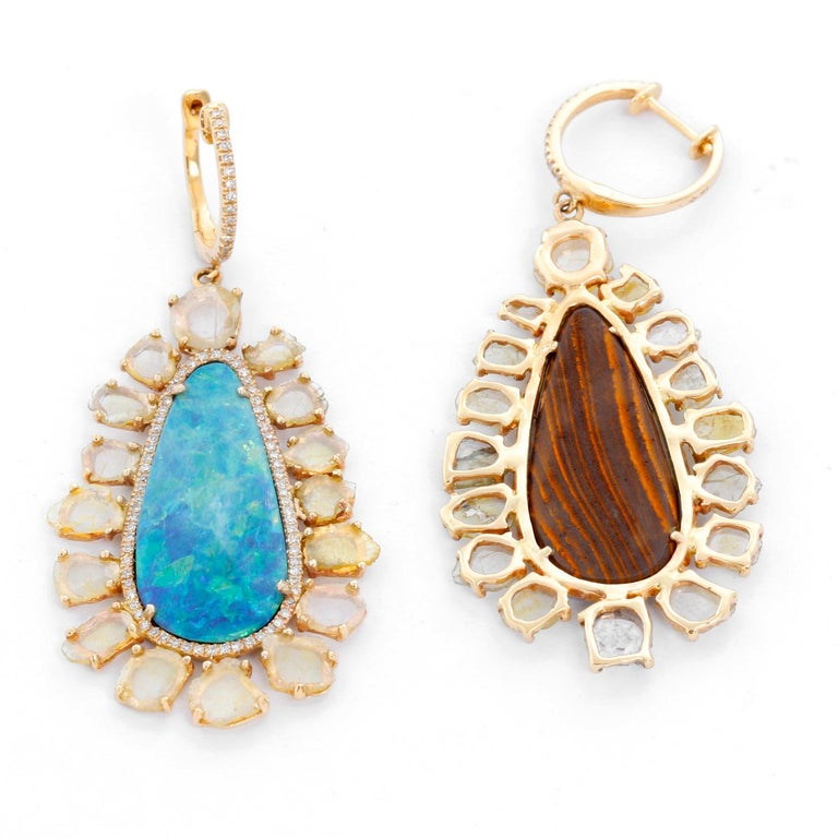 Beth Miller 14 Karat Yellow Gold Boulder Opal Diamond Earrings In Excellent Condition For Sale In Dallas, TX