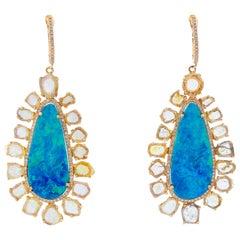 Beth Miller 14 Karat Yellow Gold Boulder Opal Diamond Earrings