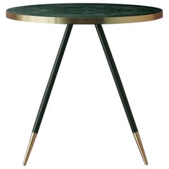 Bethan Gray Band Dining Table in Green with Black and Brass Base