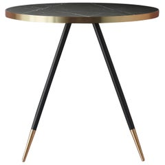 Bethan Gray Band Dining Table Single Tone in Black with Black Legs and Brass
