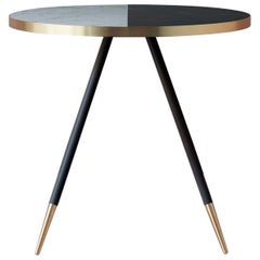 Bethan Gray Band Dining Table Two-Tone Black and White with Brass