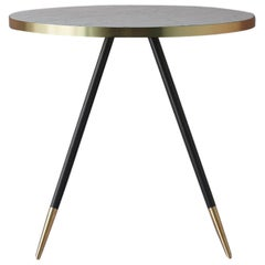 Bethan Gray Band Dining Table in White with Black and Brass Base