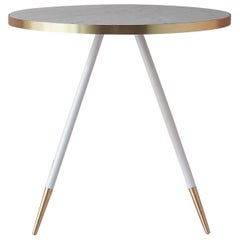 Bethan Gray Band Dining Table in White with White and Brass Base
