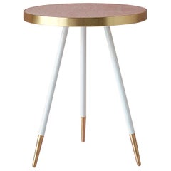 Bethan Gray Band Side Table Single Tone in Pink with White and Brass