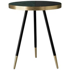Bethan Gray Band Side Table Two Tone Black and Green with Black and Brass Base