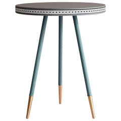Bethan Gray Brogue Side Table in Grey with White Edge and Brass Base