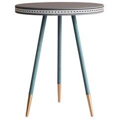 Bethan Gray Brogue Side Table Grey, White, Jade / Brass