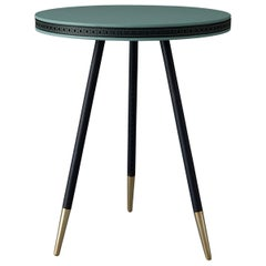 Bethan Gray Brogue Side Table in Jade with Black Edge and Brass Base