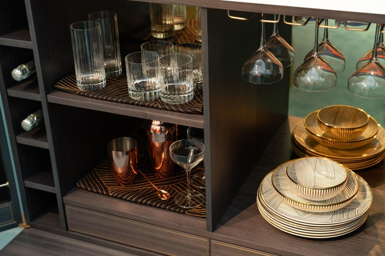Maple Bethan Gray Dhow Bar Cabinet in Monochrome and Brass For Sale