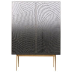Bethan Gray Dhow Bar Cabinet in Monochrome and Brass