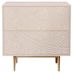Bethan Gray Dhow Bedside Chest of Drawers in White and Brass