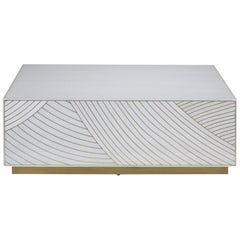 Bethan Gray Dhow Block Rectangle Coffee Table in White and Brass