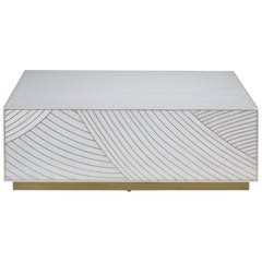 Bethan Gray Dhow Block Square Coffee Table in White and Brass