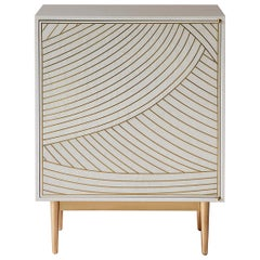 Bethan Gray Dhow One Door Bedside Table in White and Brass