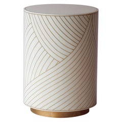 Bethan Gray Dhow Side Table in White and Brass