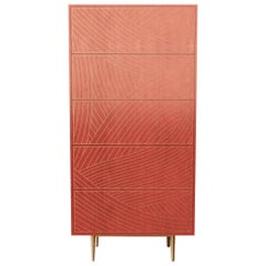 Bethan Gray Dhow Tall Boy Cabinet in Pink and Brass