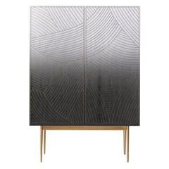 Bethan Gray Large Dhow Bar Cabinet Monochrome and Brass