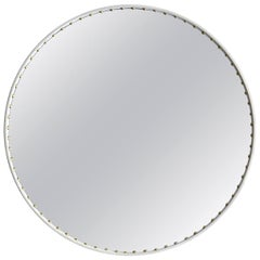 Bethan Gray Large Round Leather Stud Mirror in White and Brass