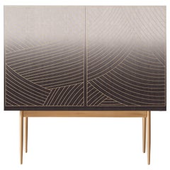 Bethan Gray Low Dhow Bar Cabinet in Monochrome and Brass