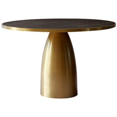 Bethan Gray Lustre Dhow Large Dining Table in Black and Brass