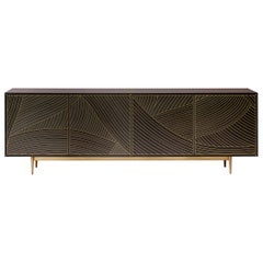 Bethan Gray MAXI Dhow Four Door Cabinet in Charcoal and Brass
