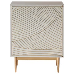 Bethan Gray Maxi Dhow One-Door Bedside Table in White and Brass