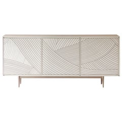Bethan Gray Maxi Dhow Three-Door Cabinet White and Brass
