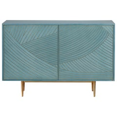 Bethan Gray Maxi Dhow Two-Door Sideboard Cabinet Jade and Brass