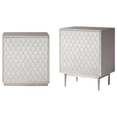 Bethan Gray Maxi Nizwa One-Door Bedside Table in White and Nickel