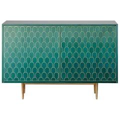 Bethan Gray Maximum Two-Door Sideboard Cabinet in Jade Veneer and Solid Brass