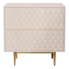 Bethan Gray Nizwa Bedside Chest of Drawers White and Brass
