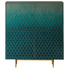 Bethan Gray Nizwa Four-Door Tall Cabinet in Teal and Brass