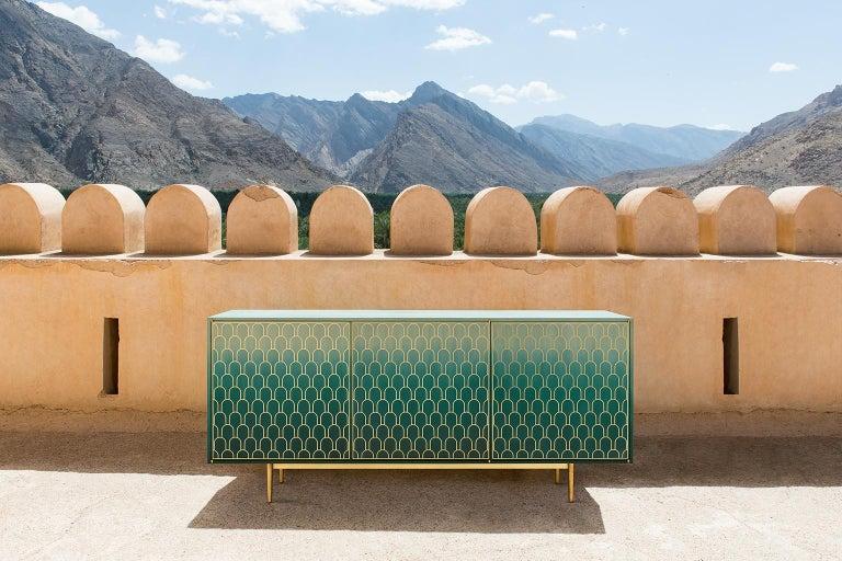 Bethan Gray Three Door Sideboard Cabinet in Jade Italian Veneer and Solid Brass For Sale 6