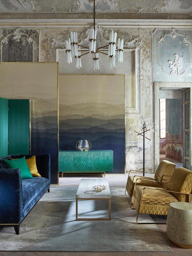 Bethan Gray Three Door Sideboard Cabinet in Jade Italian Veneer and Solid Brass For Sale 7