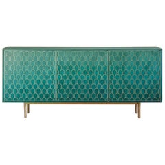 Bethan Gray Three Door Sideboard Cabinet in Jade Italian Veneer and Solid Brass