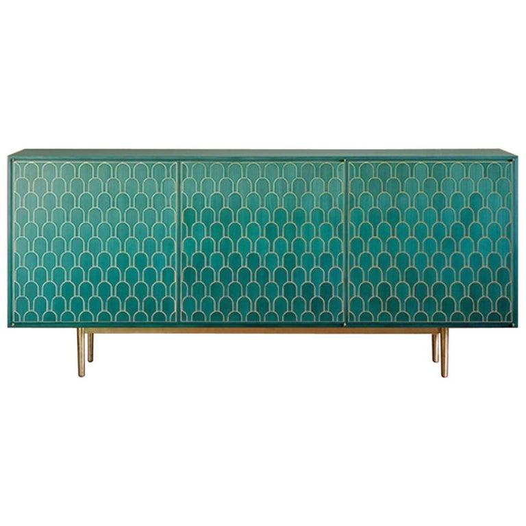 Bethan Gray Three Door Sideboard Cabinet in Jade Italian Veneer and Solid Brass For Sale