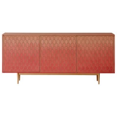 Bethan Gray Nizwa Three-Door Cabinet in Pink and Brass