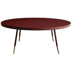 Bethan Gray Leather Stud Coffee Table in Wine and Brass