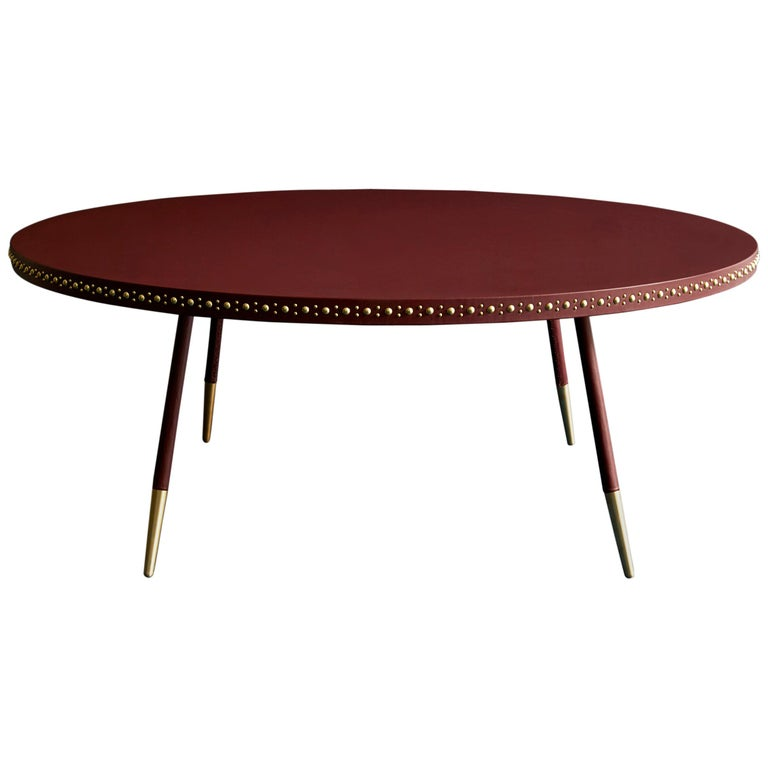 Bethan Gray Stud Coffee Table Wine / Brass For Sale At 1stdibs
