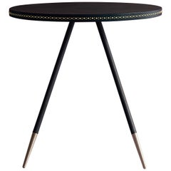 Bethan Gray Stud Dining Table in Navy with Coral Edge and Brass Base