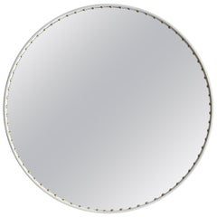 Bethan Gray Small Leather Round Stud Mirror in White and Brass
