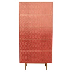 Bethan Gray Nizwa Tall Boy Cabinet in Pink and Brass