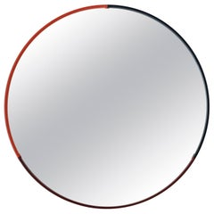 Small Three-Color Round Leather Mirror in Coral with Navy and Wine