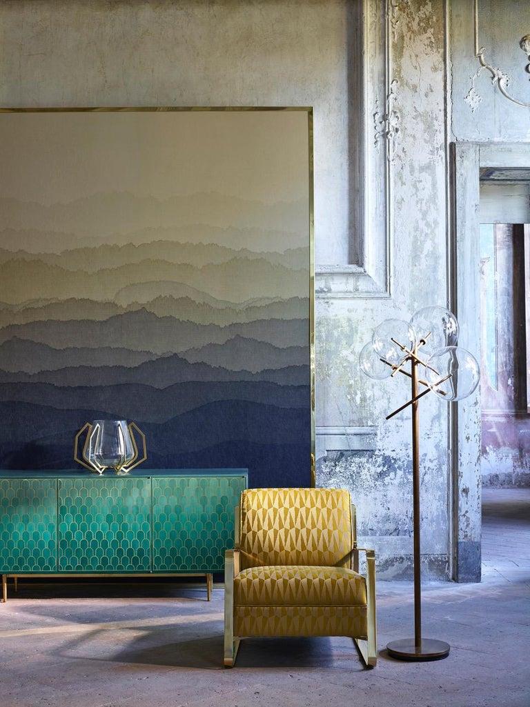 Bethan Gray Three Door Sideboard Cabinet in Jade Italian Veneer and Solid Brass For Sale 8