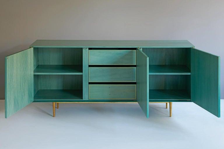 Bethan Gray Three Door Sideboard Cabinet in Jade Italian Veneer and Solid Brass For Sale 1