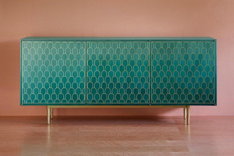 Maple Bethan Gray Three Door Sideboard Cabinet in Jade Italian Veneer and Solid Brass For Sale