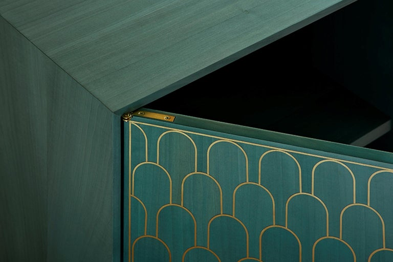 Bethan Gray Three Door Sideboard Cabinet in Jade Italian Veneer and Solid Brass For Sale 3
