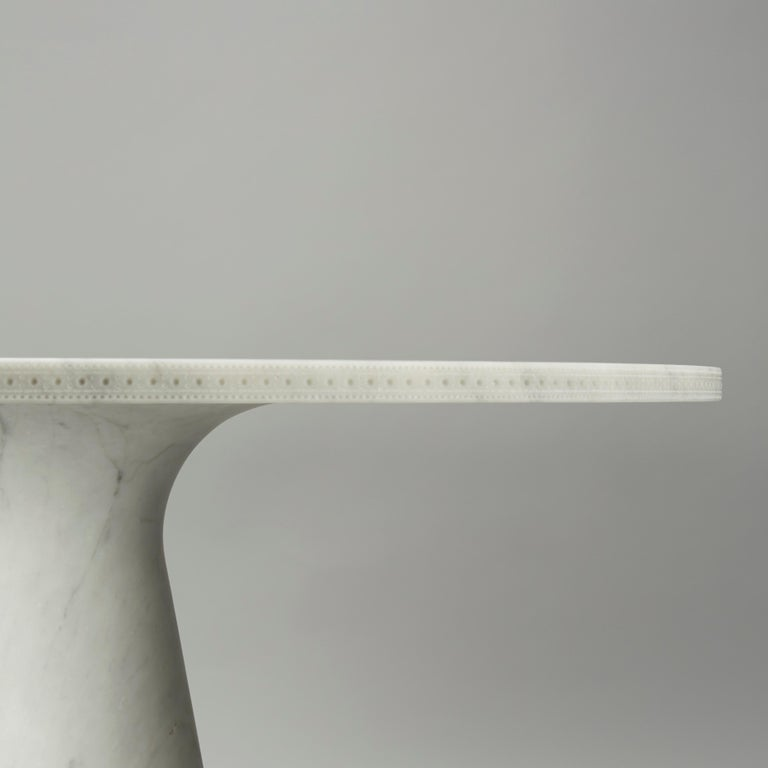 Contemporary Bethan Grey All Carrara Marble Brogue Profile Dining Table For Sale