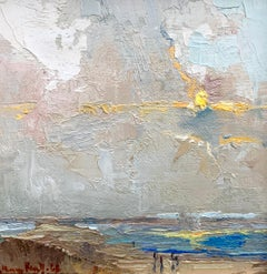 And the Sky, Above, Below and Around us Lie? Bethanne Cople, Beach Oil Painting